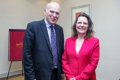 Coverage of visit by Vince Cable to Llandrindod Wells Chamber of Trade and Tourism