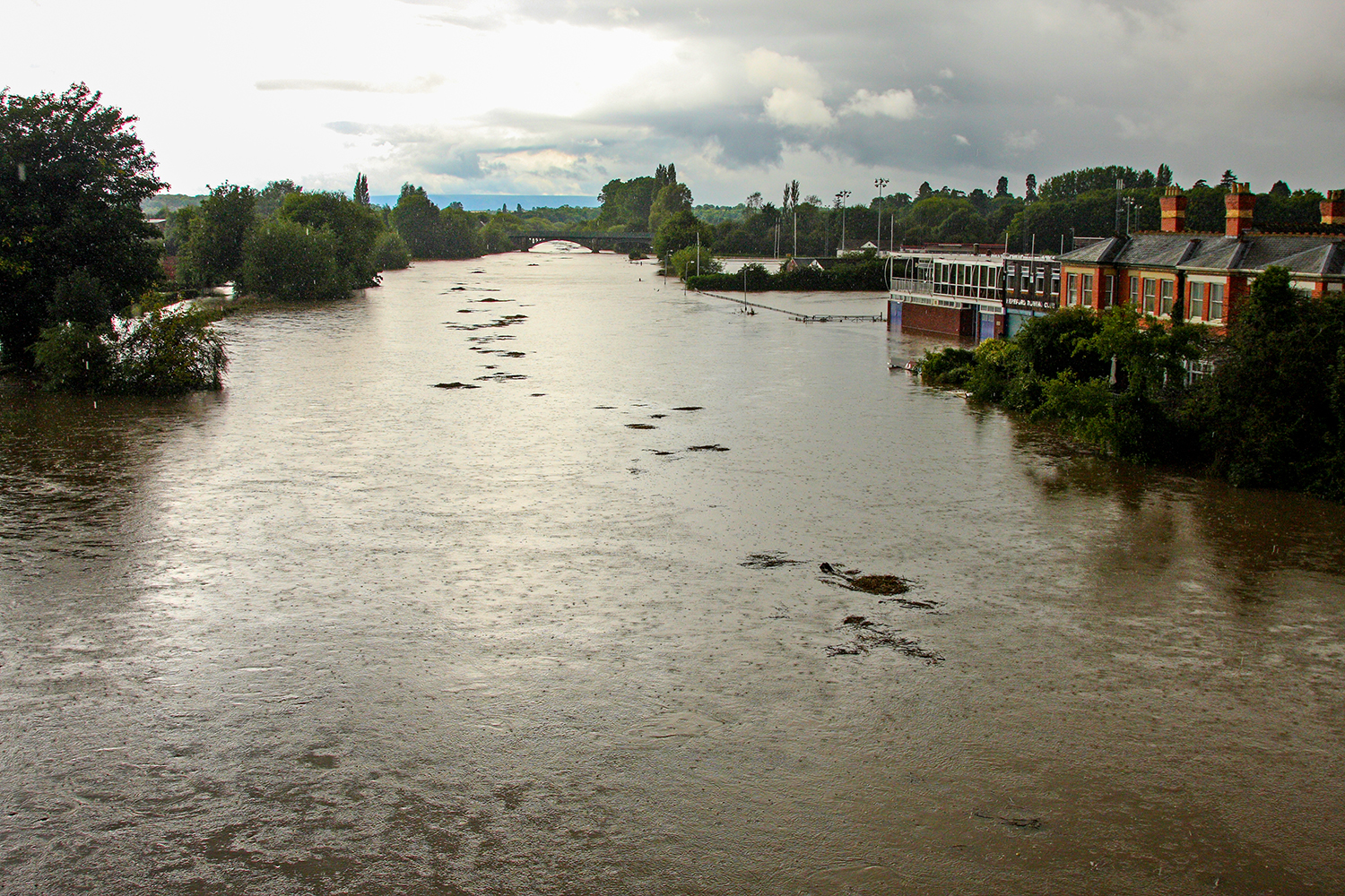 Floods, Hereford, River, Wye, Gwy, Rowing, Club, Bridge.
